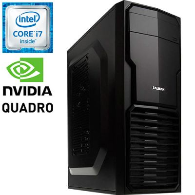 Графическая станция PRO-546387 Intel Core i7-6700 3400МГц / Intel H110 / 16Гб DDR4 / SSD 240Гб / 1000Гб / без DVD-RW / NVIDIA Quadro P620 2048Мб / 500Вт / Mini-Tower / без ОС