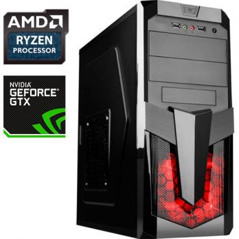 Компьютер PR 504617 AMD Ryzen 5 1400 3200МГц, AMD A320, 8Гб DDR4, без SSD, 1000Гб, без DVD, NVIDIA GeForce GTX1050Ti 4096Мб, 500Вт, Midi-Tower, без ОС